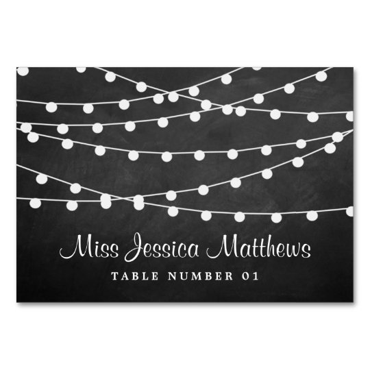 The String Lights On Chalkboard Wedding Collection Table