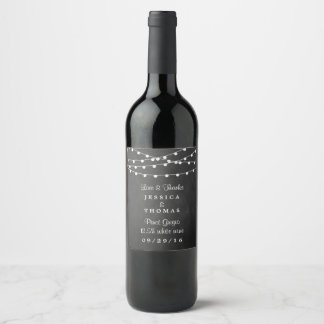 The String Lights On Chalkboard Wedding Collection Wine Label