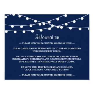 The String Lights On Navy Blue Wedding Collection 11 Cm X 14 Cm Invitation Card