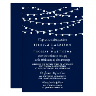 The String Lights On Navy Blue Wedding Collection 13 Cm X 18 Cm Invitation Card