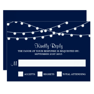 The String Lights On Navy Blue Wedding Collection 9 Cm X 13 Cm Invitation Card