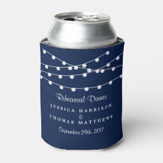 The String Lights On Navy Blue Wedding Collection Can Cooler