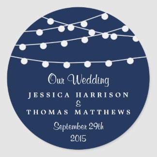 The String Lights On Navy Blue Wedding Collection Classic Round Sticker