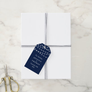 The String Lights On Navy Blue Wedding Collection Gift Tags
