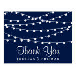 The String Lights On Navy Blue Wedding Collection Postcard