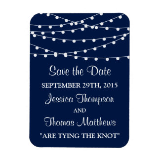 The String Lights On Navy Blue Wedding Collection Rectangular Photo Magnet
