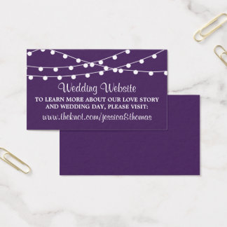 The String Lights On Purple Wedding Collection Business Card