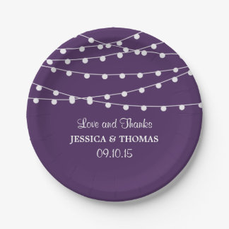 The String Lights On Purple Wedding Collection Paper Plate