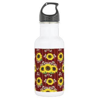 The Striped Red Fresh Sunflower Seamless Pattern 532 Ml Water Bottle
