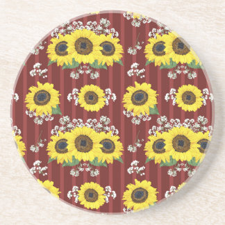 The Striped Red Fresh Sunflower Seamless Pattern Coaster