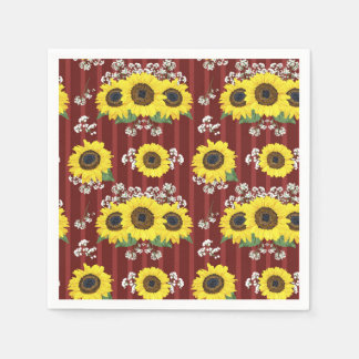 The Striped Red Fresh Sunflower Seamless Pattern Disposable Serviettes