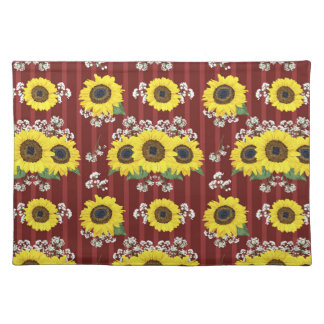 The Striped Red Fresh Sunflower Seamless Pattern Placemat