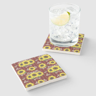 The Striped Red Fresh Sunflower Seamless Pattern Stone Coaster