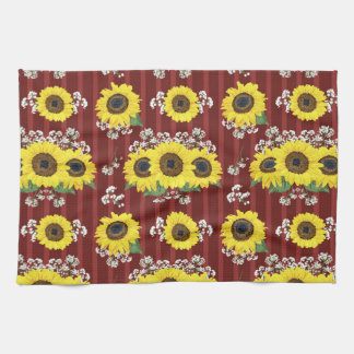 The Striped Red Fresh Sunflower Seamless Pattern Tea Towel