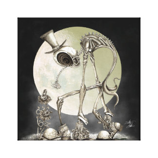 The stroll (with moon) canvas print