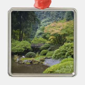 The Strolling Pond with Moon Bridge Silver-Colored Square Decoration