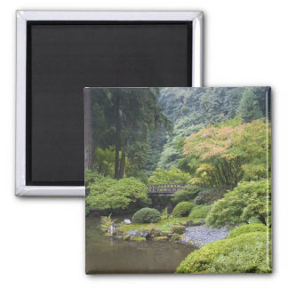 The Strolling Pond with Moon Bridge Square Magnet