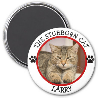 THE STUBBORN CAT: Humourous  Pawprints Photo 7.5 Cm Round Magnet
