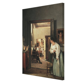 The Studio of Ingres in Rome, 1818 Canvas Print