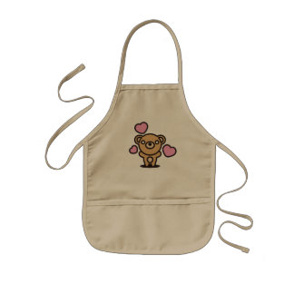 The stuffed toy of the bear kids apron