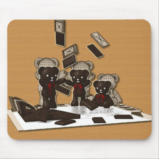 The stuffed toy of the bear mouse mats