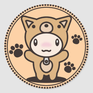 The stuffed toy of the dog round sticker