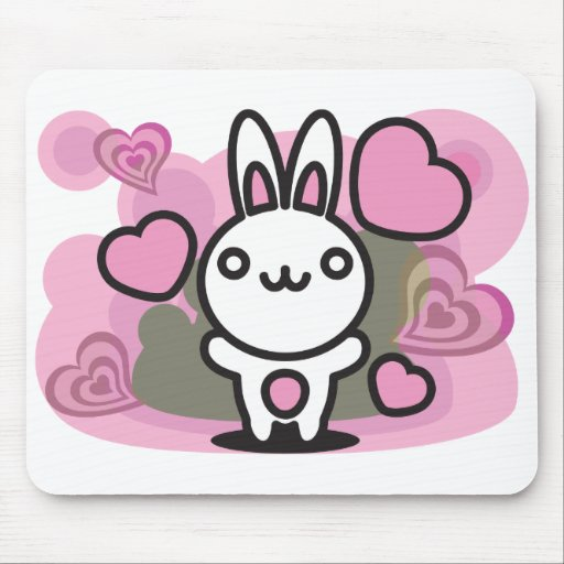 The stuffed toy of the rabbit mouse mat
