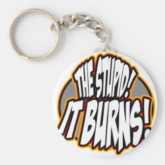 The Stupid, It Burns! Oval Fire Basic Round Button Key Ring