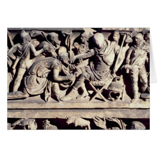 The submission of a barbarian to a Roman Greeting Card