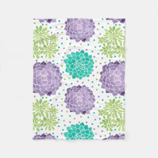 The Succulents Pattern Fleece Blanket