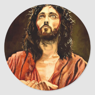 The suffering of Christ JPG Round Stickers