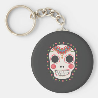 The Sugar Skull Basic Round Button Key Ring