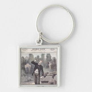 The Suicide of General Georges Ernest Silver-Colored Square Key Ring