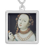 The Suicide of Lucretia, 1538 Silver Plated Necklace