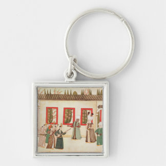 The Sultan with his favourite Silver-Colored Square Key Ring