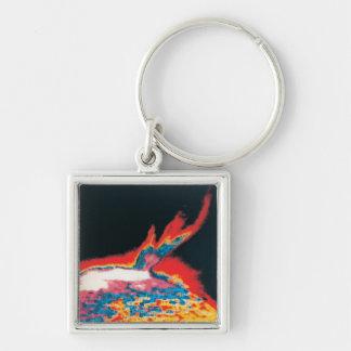 The Sun 5 Silver-Colored Square Key Ring
