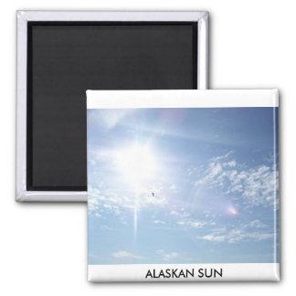 the sun, ALASKAN SUN Square Magnet