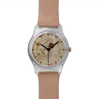 THE SUN AND MOON ,ANTIQUE  PARCHMENT MONOGRAM WATCH