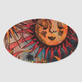 The sun and the moon oval sticker