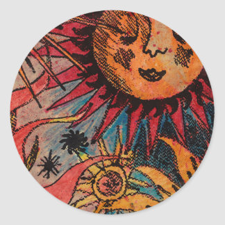 The sun and the moon round sticker
