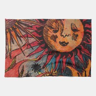 The sun and the moon tea towel