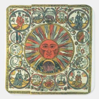 The Sun and the Zodiac, Russian, late 18th century Square Sticker