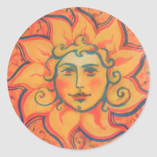 """The Sun"", fantasy art, orange and red colors Round Sticker"