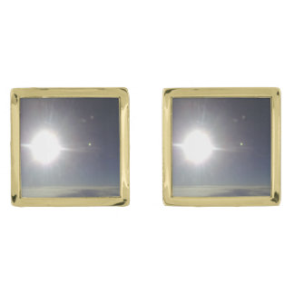 The sun from above the cloud gold finish cuff links