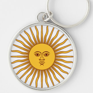 THE SUN OF MAY (Sol De Mayo) ~~ Silver-Colored Round Key Ring