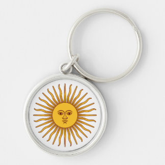 THE SUN OF MAY (Sol De Mayo) ~ Silver-Colored Round Key Ring