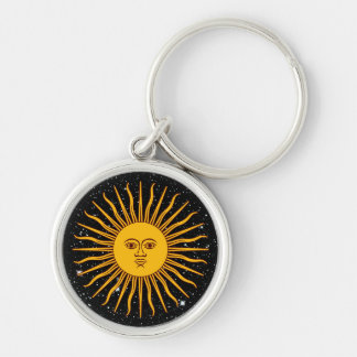 THE SUN OF MAY (Sol De Mayo) space theme ~ Silver-Colored Round Key Ring