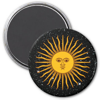 THE SUN OF MAY (Sol De Mayo) space theme ~ 7.5 Cm Round Magnet