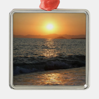 The sun sets over a beautiful mountain range, Silver-Colored square decoration