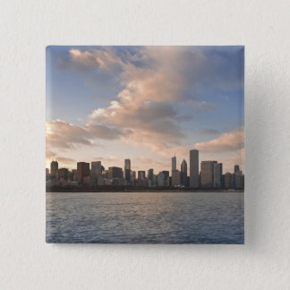 The sun sets over Lake Michigan and the Chicago 15 Cm Square Badge